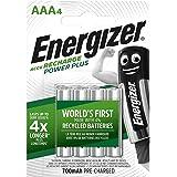 Energizer uppladdningsbara batterier AAA, laddningsström Plus, paket med 4