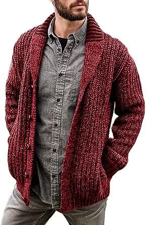 KEEPWO Mens Classic Button Shawl Collar Cardigan Knitwear Granddad Front Pockets Tops