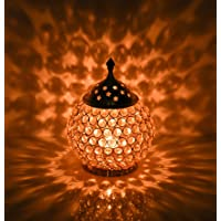 Collectible India Akhand Diya Decorative Brass Crystal Oil Lamp Tea Light Holder Puja Lamp Lantern Oval Shape Decoration…