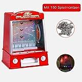 GOPLUS Coin Pusher Geldspielautomat Mini Münzschieber Spielautomat rot 26x20x35cm (Rot)