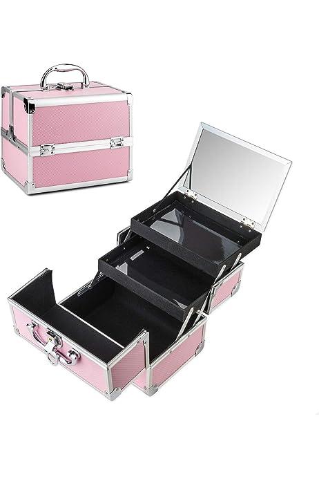 AMASAVA Maletín para Maquillaje, Estuche de maquillaje, Estuche de cosméticos, 24 x 17 x 19 cm, ABS de aluminio, con espejo, Cerradura, 2 bandejas, Negro + Rosa (Rosa-1): Amazon.es: Equipaje