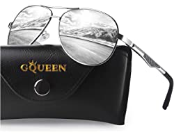 GQUEEN Polarized Pilot Driving Sunglasses Mirrored with Premium Alloy Frame for mens womens MZZ9