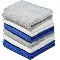 Towelogy® Microfibre Washcloth Super Soft Face Towel Flannels for Makeup Removal Facial Cleansing Cloth 30x30cm (Pack Of 6, Assorted (Blue/Grey/White))