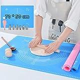 VLVEE Tapis de Cuisson Silicone Anti-adhésif, 50 * 70cm Tapis de pâtisserie en Silicone Antidérapant, avec Douilles, Coupleur