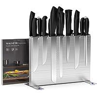 Brobantle Bloc à couteaux magnétique sans couteaux - Porte-couteaux magnétique en acier inoxydable 304 - Aimants double…