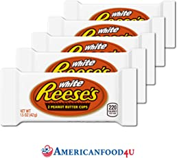 AMERICANFOOD4U - Reese's | PEANUT BUTTER CUPS | 2er Cup WHITE CHOCOLATE (42 g) [5er Pack] (Total: 10 Peanut Butter Pralines) | Original Importschokolade aus den USA | Feinste Erdnussbutterriegel in weisser amerikanischer Schokolade von The Hershey Company | Die beliebtesten amerikanische Süßigkeiten / Sweets aus den Vereinigten Staaten bei Dir zu Hause | Deine US Sweets / American Candy's von Reese's
