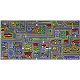 ID Mat Tapis Jeux City, Fibres Polyamide teintées sur Semelle Gel Latex antidérapante,  ville gris 95x200 cm