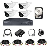 CCTV Surveillance System KIT 4CH DVR, 4 Outdoor , Hard disk , Power Adapter, Cables 15 Meters x 4 ,HDMI cable x 1,Cat6 cable
