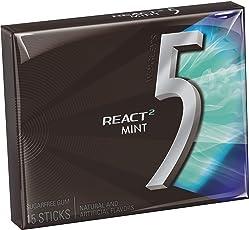 5 Gum React Mint Sugarfree Gum, 15 Packs