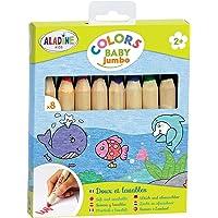 Aladine - Colors Baby Jumbo - Lot de 8 Crayons de Couleur - Tracé Doux et Lavables - Crayons Faciles à Prendre en Main…