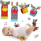 Baby Rattle Neonato Sonagli Calzini da Polso a Sonaglio per Bambini, Simpatici Animaletti Developmental Soft Toys Bambole per
