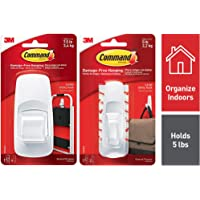 Command Jumbo Plastic Utility Hook(White,1 Hook and 4 Strips) & Large Utility Hooks for Clothes & Bags, Holds 2.2 kg, No Drilling, Holds Strong, No Wall Dam Combo