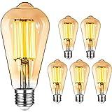 Ampoule E27 Vintage Edison LED - 8W(Égal à 80W) 1000LM / 2400K, YUNLIGHTS 6PCS Rétro ST64 Ampoules de Décorative Lampe Filame