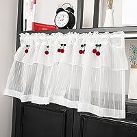 MIANJ Rideau Brise-bise Transparents Blancs avec Décoration Cerise Rideau De Cuisine Rideau Court De Style Pastoral…