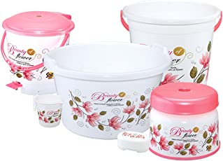 MEDED Plastic Bucket, Tub and Mug Bathroom Set - King Size, White and Pink (Pack of 6)