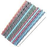 Ounona Plastic rietjes kleurrijk herbruikbare dikke rietjes met penseel voor party glas 25 stuks (gemengde kleuren)