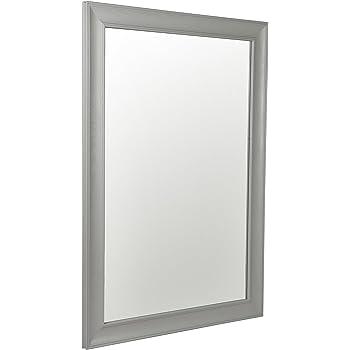 Reflex 62 x 52cm Grey Wood Framed Mirror Wall Hanging Fixings ...