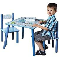 Kesper 17721 1 Tavolo per bambini con 2 sedie, design: Dinosauro, MDF laccato, FSC, Blu (Blau)