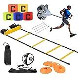 airtrack matte Set Allenamento velocità Calcio, Set di Allenamento Agile,Premium Agility Ladder e Coni,Paracadute da Corsa di