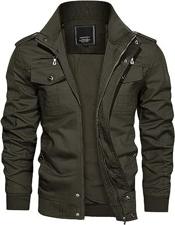 KEFITEVD Men's Casual Cargo Jacket Autumn Military Bomber Jackets Windbreaker Coat