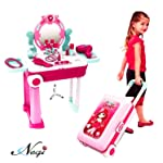 Negi 2 in 1 Trolley Case Beauty Set for Girls, Makeup Tool Sets Pretend Play Workbench Playset Educational Toy for Kids