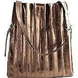 NALì Design capiente e a ventaglio per la borsa bronzo texture lucida. Dotata di coulisse superiore e bottone automatico.
