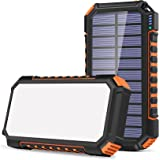 Riapow Zonnelader 26800mAh, Zonne-energie Bank met 3 uitgangen & 60 LED-verlichting, USB C Quick Charge Draagbare Oplader Hog