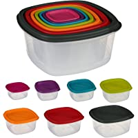 Silley 7 Boites Alimentaires Lot de 7 Boites en Plastique Emboitables + Couvercles - Boîtes de Conservation Carrées…