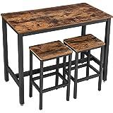 VASAGLE Lot Table et Chaises de Bar, Table Haute avec 2 Tabourets de Style Industriel, pour Cuisine, Salle à Manger, Salon, M