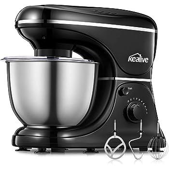 Kealive Küchenmaschine, Knetmaschine (1200W   8 Geschwindigkeit, 4,5Liter),  Universal Küchenmaschine Mit Knethaken, Schlagbesen, Rührbesen, ...