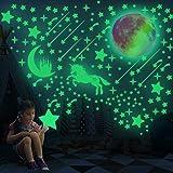 297 PSC Pegatinas de pared de unicornio realistas que brillan en la oscuridad luminosas de luna y estrella. Pegatinas de tech