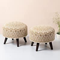 Nestroots Stool for Living Room set of 2 sitting printed ottoman upholstered foam cushioned pouffe puffy for foot rest…