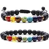 Pulsera Piedra Natural, 7 Chakra Pulsera Elástica Pulsera de Piedra Naturales Mujer Pulsera de Cristal Yoga Día de la Madre M