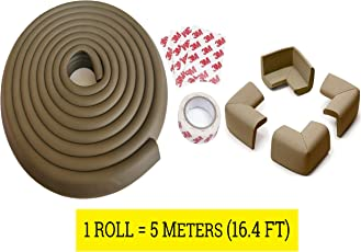 LifeKrafts Edge Protectors Roll with 4 Corner Guards For Child Safety; with 3M Tape Safety (5 Meters,Antique Brown)