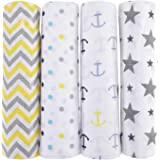 haus & kinder Chevron Stripes Anchor, Dots, Star Cotton Muslin Swaddle Wrap for New Born Baby (Grey, Yellow) -Pack of 4