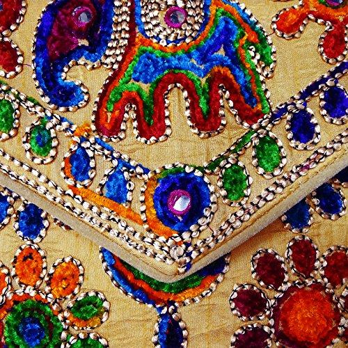 Borse A Tracolla Etniche Tradizionali Indiane Suzani Ricamate Donne Festa Indossano Borse Etniche Crema