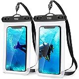 YOSH Waterdichte telefoonhoes 7,0 inch (2 stuks) mobiele telefoon waterdichte hoes voor zwemmen en koken IPX8 waterdichte tel