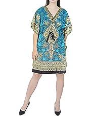 GirlsNCurls Womens Short Kaftan Polyester Beach Gown Long Dress Nighty Maxi