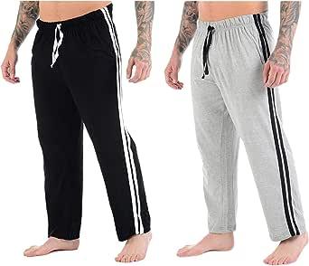 Mens Lounge Pants Plain Nightwear Striped Jog Jogging Tracksuit Bottoms Pyjama Pjs Joggers Sleepwear Casual Gym Lightweight Loungewear
