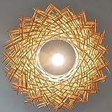 Kecream Suspension Lumineuse en rotin Lustre réglable en nid d'oiseau Bambou Rotin Naturel Suspendu Tissé Lampes Suspension R
