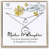 Set di gioielli da madre figlia per due collane di cuori tagliati, 2 collane in argento sterling