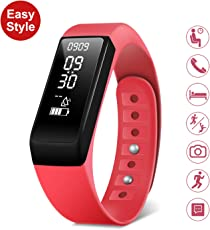 HEIHEI Bluetooth 4.0 Activity Smart Bracelet Fitness Tracker Watch with Heart Rate Monitor, IPX67 Water Resistant (I5Plus, Red)