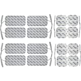 Électrodes pour électrostimulateur TENS EMS - Set de 16 électrodes 8 x 10*5 cm + 8 x 5*5 cm - connexion à fil 2 mm - pour électrostimulation TENS et EMS