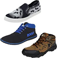 Bersache Footwear Men Combo Pack of 3 Loafer with Casual Shoes (9 UK, Multicolor)