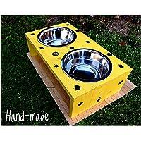 Porta ciotole in legno per cani taglia piccola media giallo nero pois