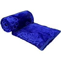 EVERDECOR Balaji Creations Blanket Double Bed (150cms x 225cms) Embossed-Blue 1.5kg (63x90) Solid Colour Ultra Soft…