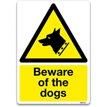 beware of the dogs sign warning safety self adhesive vinyl sticker a6 105 x 148mm