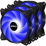 upHere 120mm 3PIN avec LED Bleu Ventilateur pour PC Ultra Silencieux, Pack Triple (PF120BE3-3)