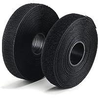 FOGAWA Bande Scratch à Coudre 5M Crochet et Boucle Rouleau Scratch Hook Loop Autoadhésif Noir Bande Adhésives pour Tissu…