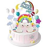 iZoeL Licorne Gateau Décorations de gâteau d'anniversaire Arc-en-ciel Happy Birthday bannière Ballons Nuages pour enfants Fil